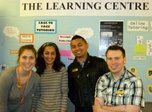 Bethany Hochstein, Aida Rahavi and (far right) Liam Britten get certified. Pictured with Master Tutor Gerard Rances.