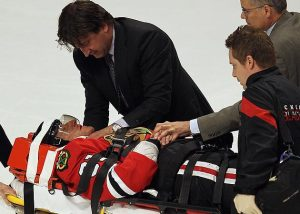 Marian Hossa #81 of the Chicago Blackhawks is moved off of the ice on a stretcher following a collison with Raffi Torres of the Phoenix Coyotes in Game Three of the Western Conference Quarterfinals.