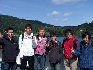 Yuta Kon (far left) with five other Japanese students on board ferry heading to Victoria.