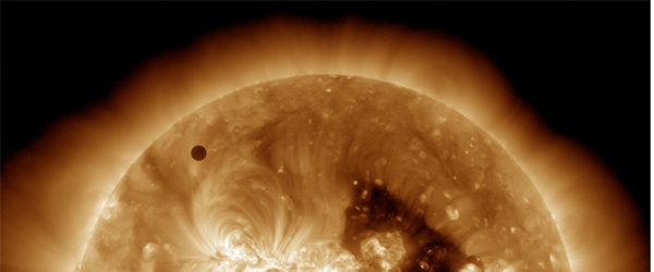 The transit of venus as captured by the Solar Dynamics Observatory satellite currently orbiting Earth (Photo courtesy of Nasa)