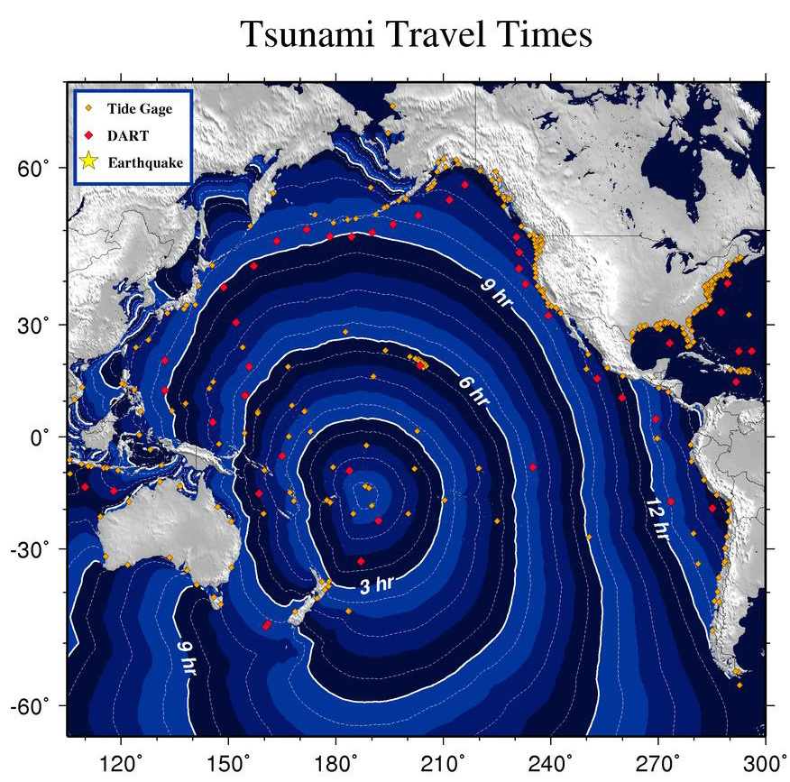 Image from the West Coast and Alaska Tsunami Warning Centre.
