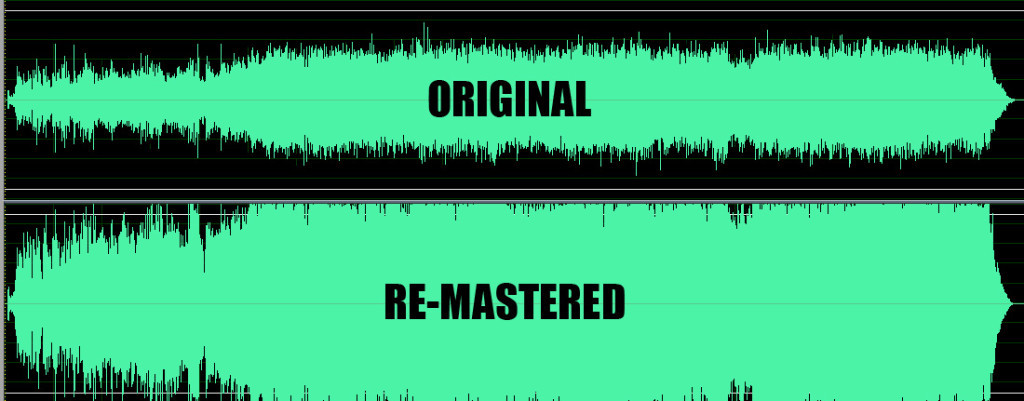 """The Waveforms from the album Daydream nation by Sonic Youth before and after being """"Remastered""""."""