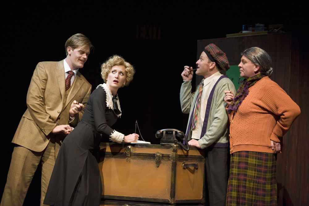 Martin Happer, Diana Coatsworth, Shawn Macdonald, and David Marr go full farce in The 39 Steps. Image from The Georgia Straight.