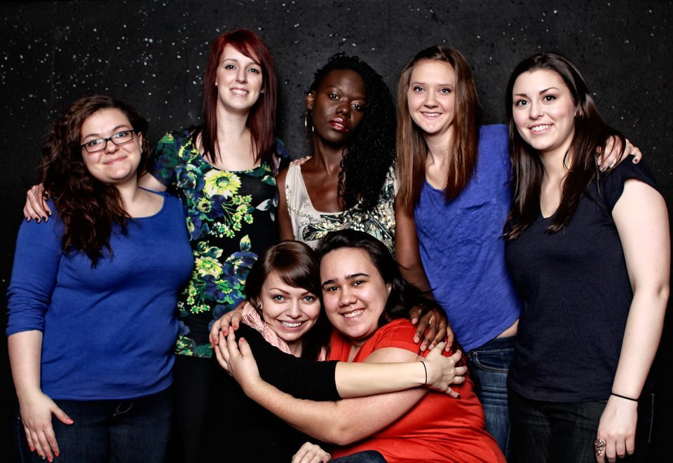 Top Girls cast: Back row (l-r) Nadia Bordignon, Stephanie Webb, Fatima Namatovu, Meghan Somerville, Angie Hennig. Front row: Laura Genschorek, Paula Broderick. Image by Alvin Lescano
