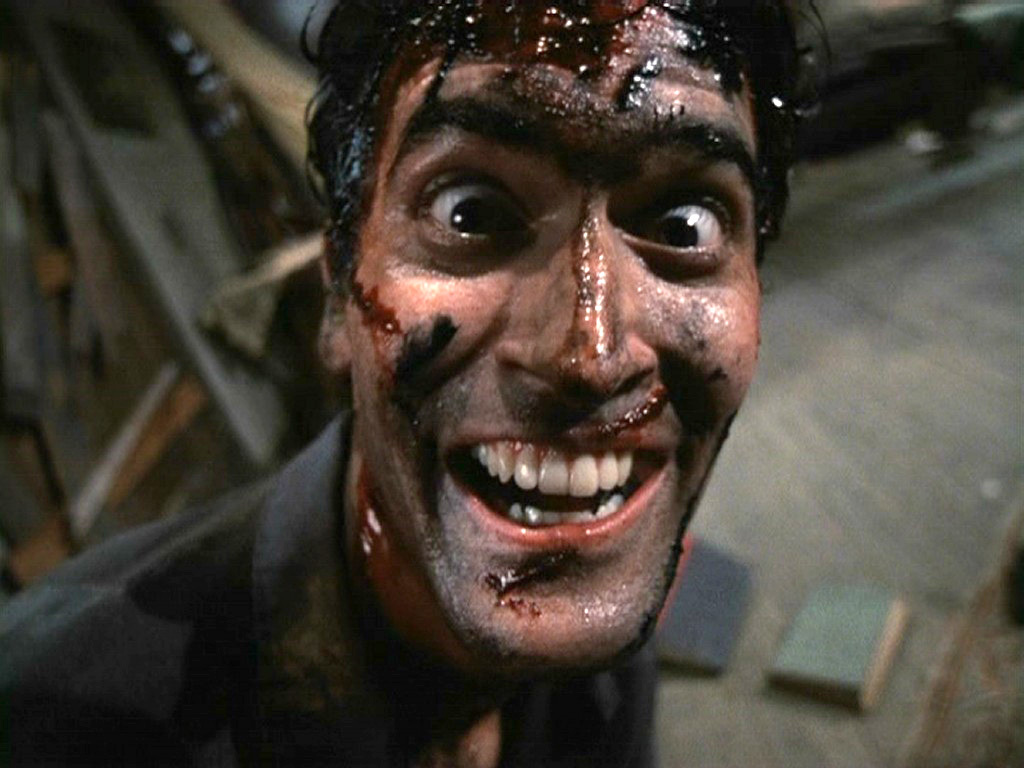 Screenshot of Bruce Campbell as Ash in the original Evil Dead.