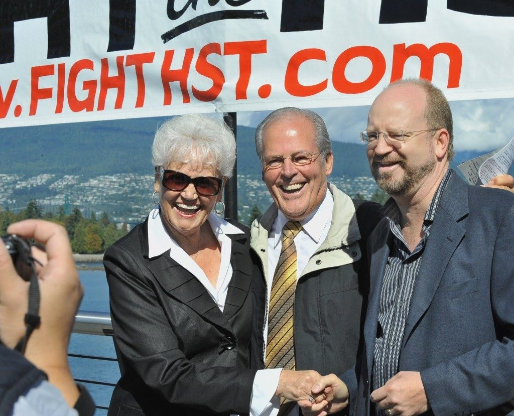Image of Lillian and Bill Vander Zalm with Bill Tieleman at 2009 rallly in Vancouver against HST via billtieleman.blogspot.ca