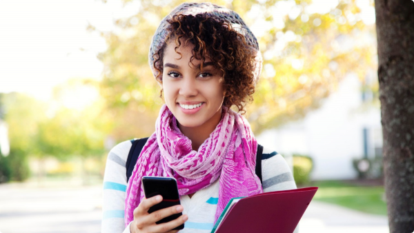 081313-national-college-apps-student-teen-woman-cell-phone-smart-phone-smiling-happy
