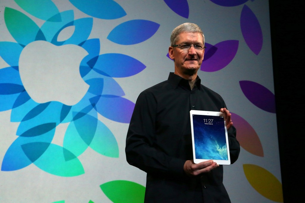 Tim Cook, chief executive of Apple, with the new iPad Air at the Yerba Buena Center for the Arts in San Francisco.