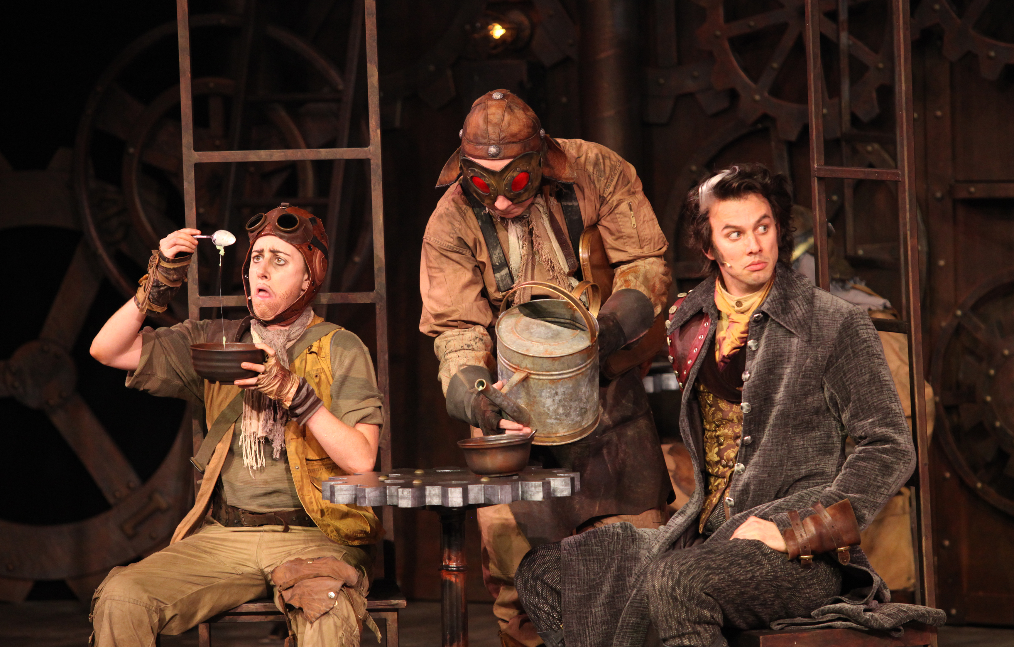 Luisa Jojic, Andrew Cownden, and Ben Elliott in 'The Comedy of Errors' at Bard on the Beach Photo by David Blue