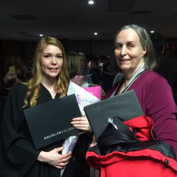 Honorary Fellow recipient Dr. Elaine Golds inspiring students at tonight's Grad via @Douglascollege on Twitter