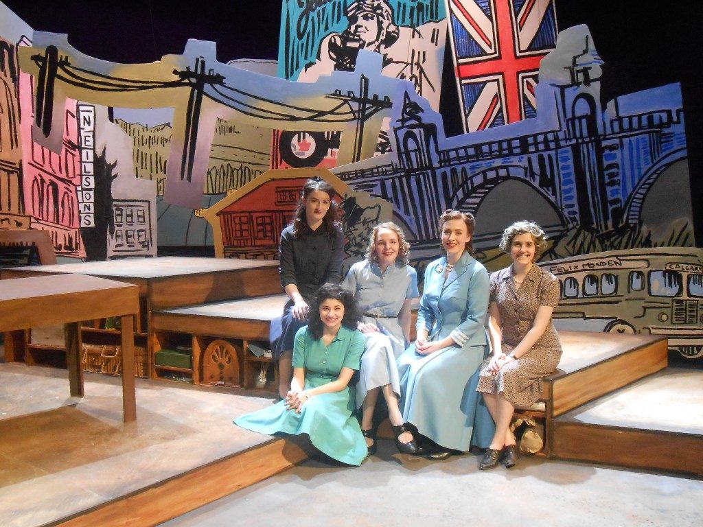 Rebecca Troock as Marta, Pamela Carolina Martinez as Eve, Rachel Fournier as Catherine, Shannon Lindsey as Janet, and Lily Gillette as Margaret on the set of Waiting for the Parade - Photo by Cheryl Minns