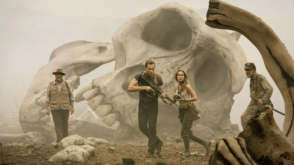 John Goodman, John C. Reilly, Brie Larson, and Tom Hiddleston in Kong: Skull Island Photo by Chuck Zlotnick Warner Bros Entertainment Inc