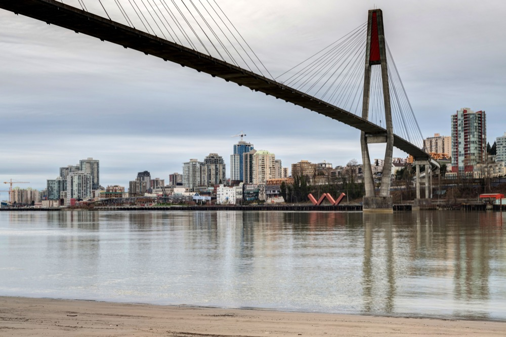 skytrain bridge linking Surrey and New Westminster cities in BC, Canada