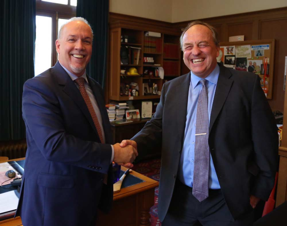 Photo of John Horgan (NDP) & Andrew Weaver (Green) via BC NDP