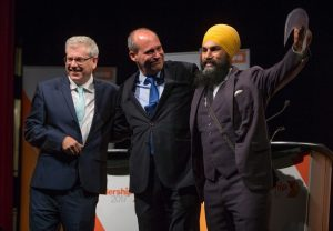 Photo of Charlie Angus, Guy Caron and Jagmeet Singh by Darryl Dyck via The Canadian Press