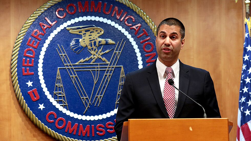 Photo of FCC Chairman Ajit Pai via The Hill