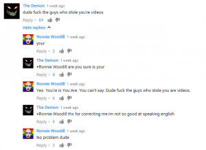 Screenshot of Youtube Comments via Reddit